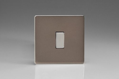 Varilight XER1S Euro Pewter 1 Gang 10A 2-Way & Off Retractive Light Switch